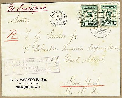 Curacao 1929 registered airmail cover to US via Canal Zone