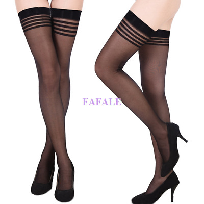 Women Sexy Stretchy Sheer Black Stockings Thigh-Highs Lingerie One Size