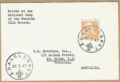 Sweden 1947 Scout Camp special cancel postcard to Australia