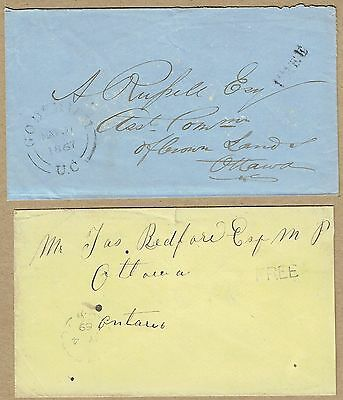 """Canada 1867-69 covers """"FREE"""" markings (2)"""