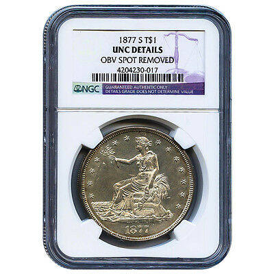 Certified Seated Liberty Dollar 1877-S UNC Details (OBV Spot Removed) NGC
