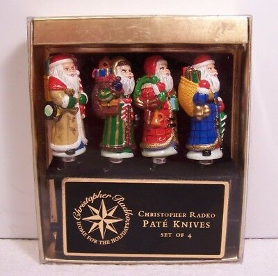 Christopher Radko Set of 4  Santa Claus Pate' Knives - Home For The Holidays