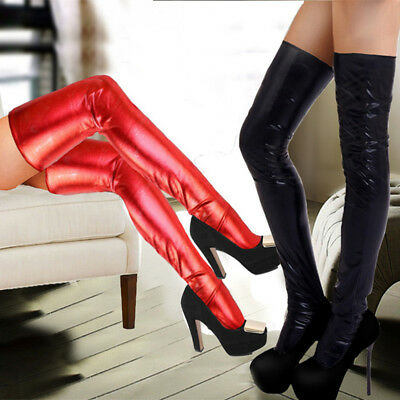 Sexy Women Patent Leather Elastic Lace Long Stockings Party Tight Socks Hosiery