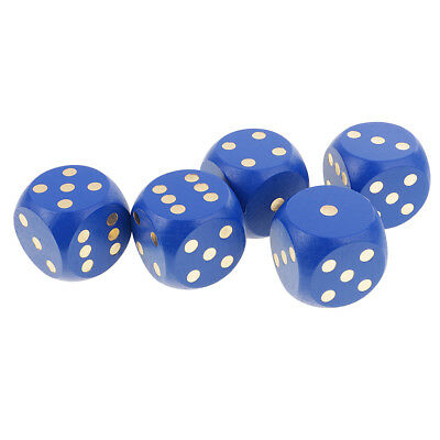 5pcs Set 6 Sided D6 Digital Dice Party Gaming Dices Card Board Game Toy Blue