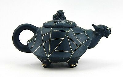 Chinese Yixing Zisha Clay Artistic Teal-Blue Turtle Teapot And Cover New # 33