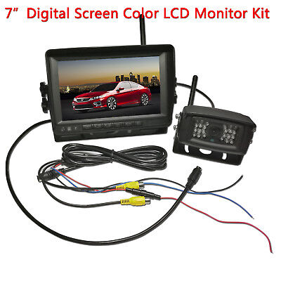 "18 LED Backup Camera Weatherproof+7"" Digital TFT Truck Bus RV Rear View Monitor"