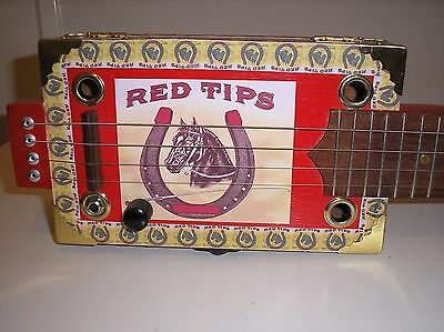 "ICBG ""Red Tips""  Hand Made 4 String Electric/Acoustic Lap Steel Cigar Box Guitar"