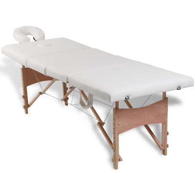 Wooden Portable Massage Table 4 Fold Beauty Therapy Bed Waxing 68cm Cream White