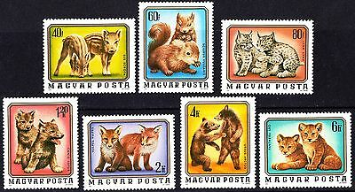 Hungary 1976 Cute Baby Wild Animals Fauna Complete Set of Stamps MNH