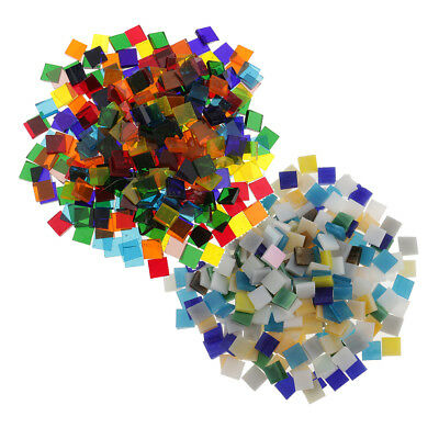 500x Mixed Color Square Glass Mosaic Tiles Pieces for Mosaic Making 10x10mm