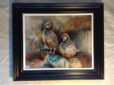 Original oil on canvas painting. Wildlife. Birds. Partridges. Contemporary.