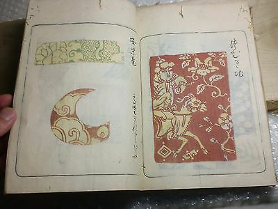 1797 RARE:Japanese Woodblock Print Picture Book -Kokin. Coloured fabric patterns