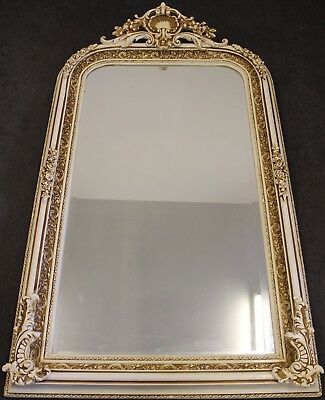 Antique Vintage Style Large Louis Carved White French Rococo Mirror 369