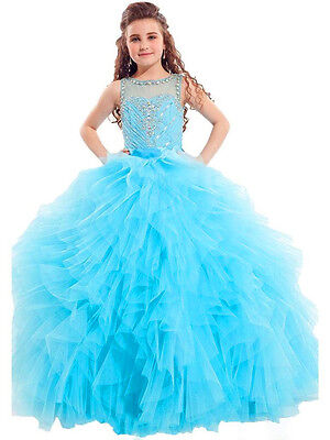 US Stock Size8 Blue Tulle Flower Girl Dress Princess Birthday Pageant Gown