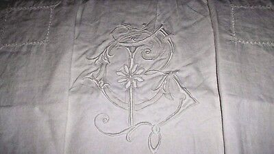 French antique hand embroidered large linen sheet superb Art Nouveau mono BC CB