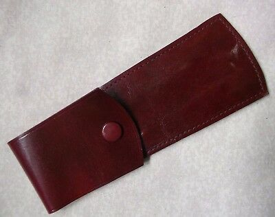 VINTAGE REAL HIDE LEATHER CASE POUCH WALLET OXBLOOD 1980s 1990s