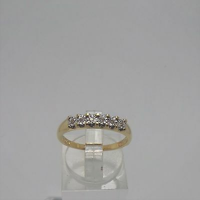 9ct YELLOW GOLD DIAMOND WEDDING BAND RING -  RING SIZE O 1/2