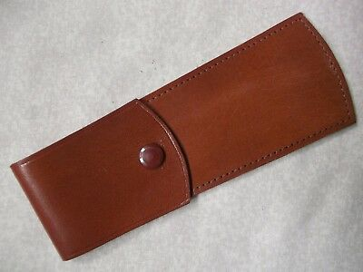 VINTAGE REAL HIDE LEATHER CASE POUCH WALLET TAN BROWN 1980s 1990s