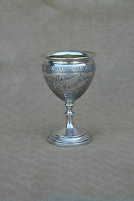 ANTIQUE FRENCH STERLING SILVER EGG CUP 1883-1911 ENGRAVED LEAVES MONOGRAM XIXth