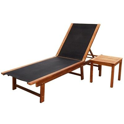Outdoor Sun Lounger Set 1 Table Acacia Wood Backrest Adjustable Pool Seating