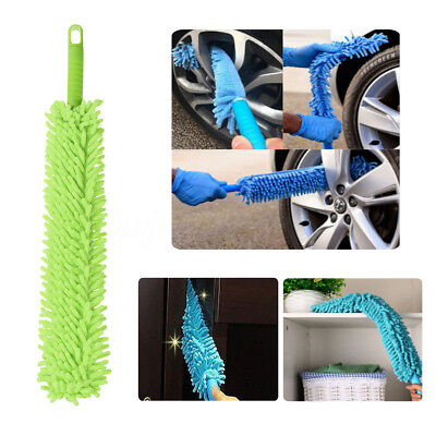 Microfibre Noodle 2 In 1 Long Flexible Wash Alloy Wheel Brush Car Cleaner green