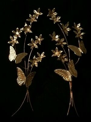 Set Of Two Vintage  Tin Brass Copper Roses With Butterfly Metal Wall Hangings