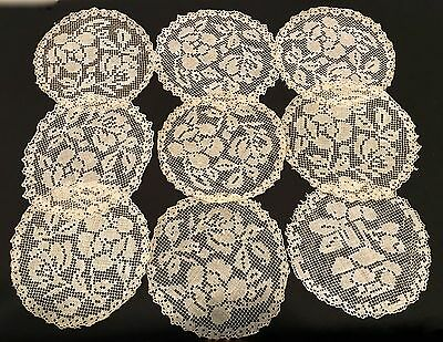 Antique Italian Filet Lace Rounds 5-1/2 In. Group Of 9