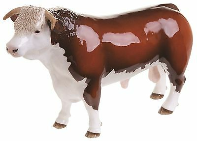 John Beswick Farmyard Animals Figure HEREFORD BULL (HORNED) JBF88 - New & Boxed