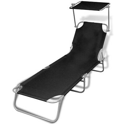 S# Black Outdoor Foldable Sun Lounger Bed Reclining Beach Chair Shade Roof Fabri