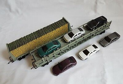 Hornby Triang R235 Pulp Wood Car TR3471 and R342 Car Transporter with Cars