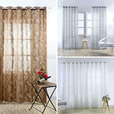 Window Door Tulle Floral Curtain Drape Panel Room Voile Sheer Valances Divider
