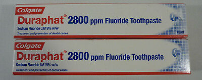 2 x Colgate Duraphat 2800 PPM Fluoride Toothpaste 75ml - Long Expiry Date