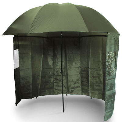 NGT 45 Green Camo Umbrella Brolly with Zip On Sides Coarse Carp Fishing Shelter