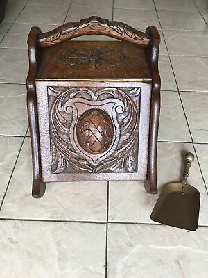 ANTIQUE CARVED OAK COAL BOX SCUTTLE With Brass Shovel
