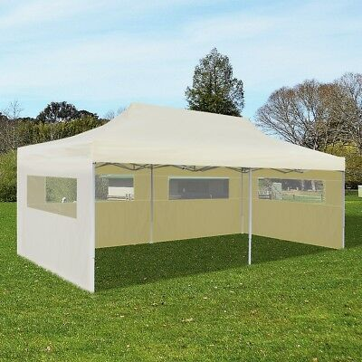 New 3x6m Cream Outdoor Gazebo Marquee Party Tent Canopy Pop Up Wedding Folding