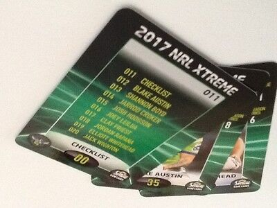 2017 NRL Xtreme Cards Canberra Raiders- 3  Cards- 011,012,019.