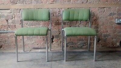 Pair Of Green Chrome Vintage Office Chairs