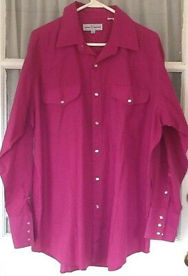 Vtg. Mens Western Pearl Snap Front Flap Pockets Shirt Rockabilly XL Long Tail