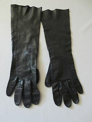"Vintage Black Kid Leather Gloves 13"" Long Size 7"