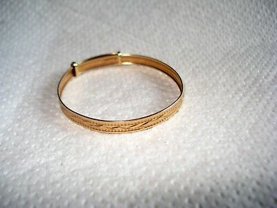 9ct Solid Gold Baby Child Expandable Adjustable Bangle Christening