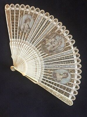 Antique 18Th French Or Chinese Filigree Hand Painted Miniature Scenes Brise Fan