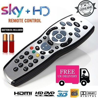 100% New, GENUINE SKY+ PLUS HD REV 9 TV REPLACEMENT Remote + FREE BATTERIES UK