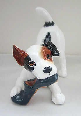 ROYAL DOULTON England DOG FIGURINE Jack Russell TERRIER CHEWING SLIPPER HN 2654