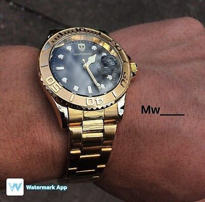 Southberg Luxury Submariner Stainless Steel Gold & Black Men's Watch Reginald.