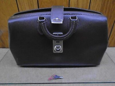 Vintage BROWN LEATHER DOCTOR'S BAG WITH LOCK AND KEY Excellent Condition