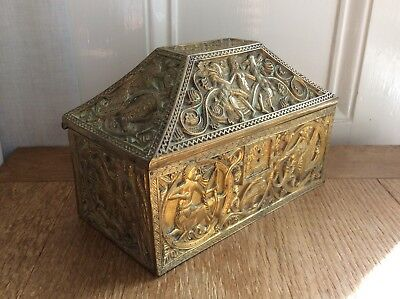 A Decorative Antique Eastern Heavy Brass Casket