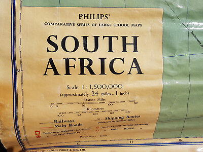 Vintage, Philips` Large School Map, South Africa, 1957