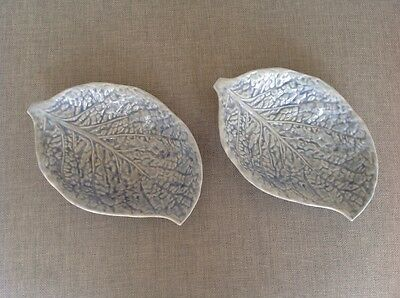 2 Vintage  Mount Pleasant Pottery dishes decorated in light purple glaze