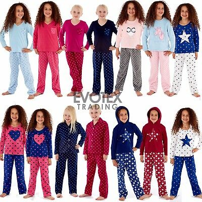 Girls Heart/Star Print Fleece Pyjamas Pyjama Set PJs Age 7 8 9 10 11 12 13 Years