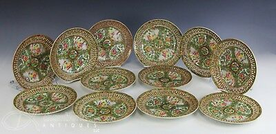 Rare Set Of 12 Antique Chinese Export Rose Medallion Plates W Reticulated Rims